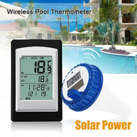 Digital With 3 Channels Wireless Thermometer LCD Display Waterproof Measuring Solar Power Meter Swimming Pool Time Alarm