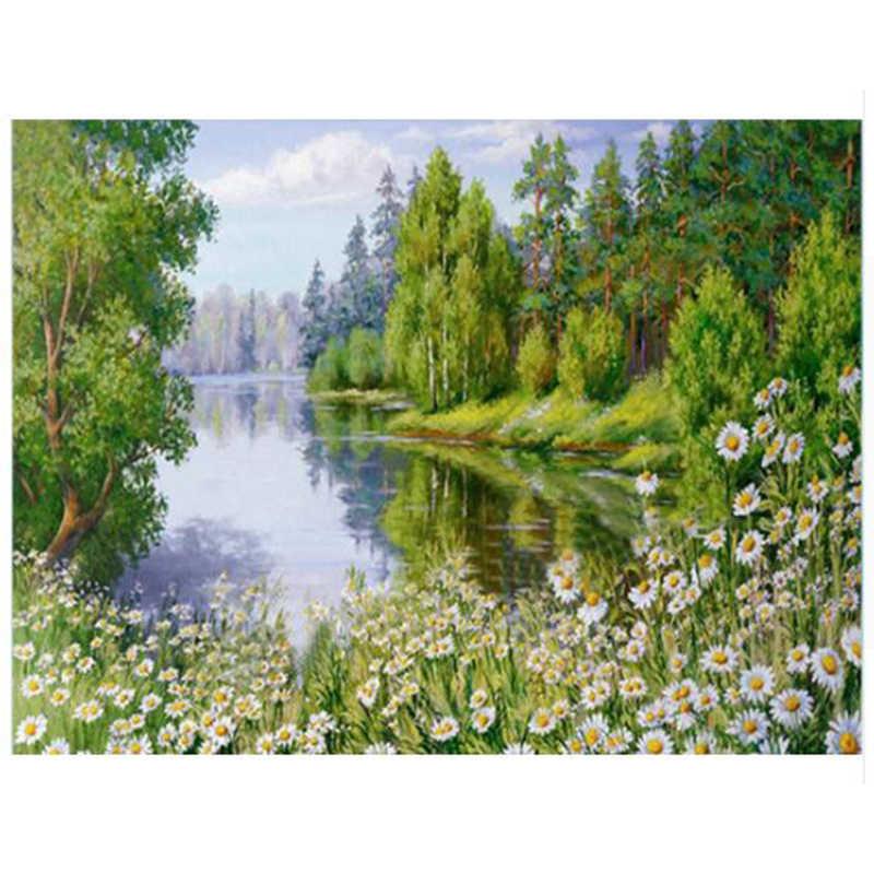 יהלומי DIY רקמת פרחים 5D טבע נוף תמונה מלא עגול Rhinestones רקמה תחביב עיצוב הבית YY