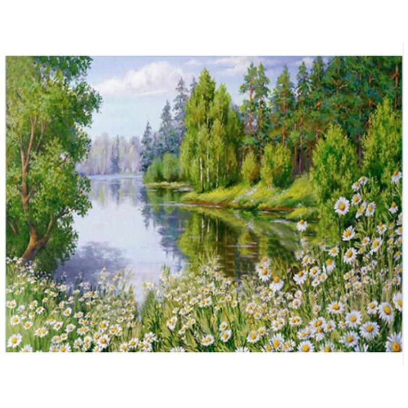 DIY Алмазная Вышивка Цветы 5D природа пейзаж полный круговой вышивка из драгоценных камней Hobby Home украшения YY