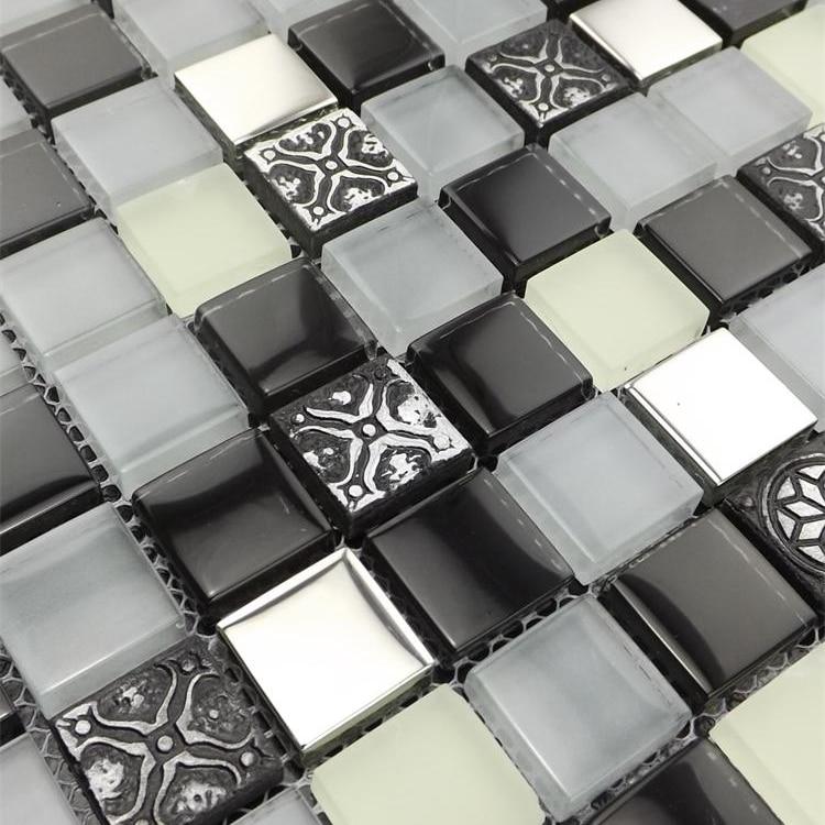 profundo color gris mezclado claro azulejos de mosaico de vidrio para el azulejo de la cocina
