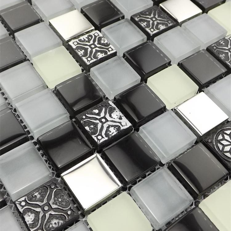 deep gray color mixed clear glass mosaic tiles for kitchen backsplash tile bathroom shower fireplace dining room wall mosaic