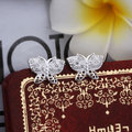 silver plated High quality earrings Butterfly  Wholesale Jewelry  1.4 * 1.0cm Valentine's Day Gift