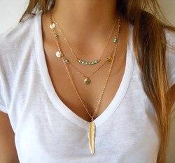 Moda ouro cor multicamada moeda borlas lariat barra colares grânulos gargantilha pena pingentes colares para mulher bijoux