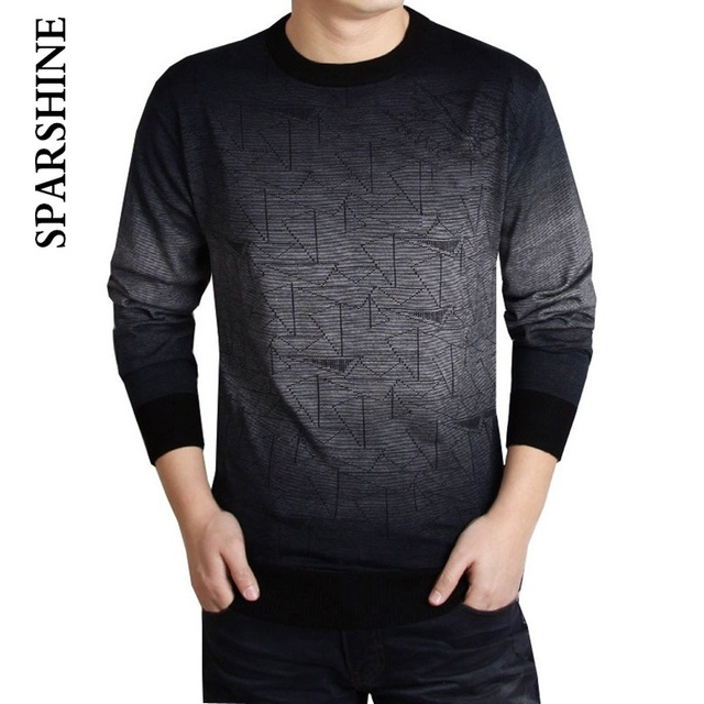 Men 2016 Winter Cashmere Wool Sweater Brand Clothing Mens Sweaters Fashion Print Casual Shirt Pullover Men Pull O-Neck