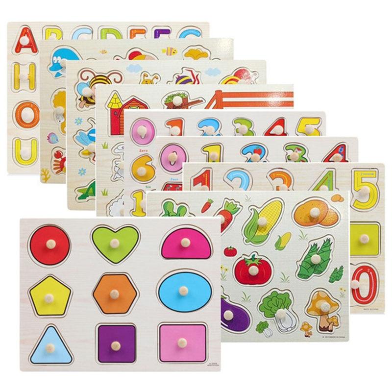 30 cm niños juguetes educativos temprano bebé mano agarre madera rompecabezas alfabeto y dígitos aprendizaje educación niño madera rompecabezas juguete