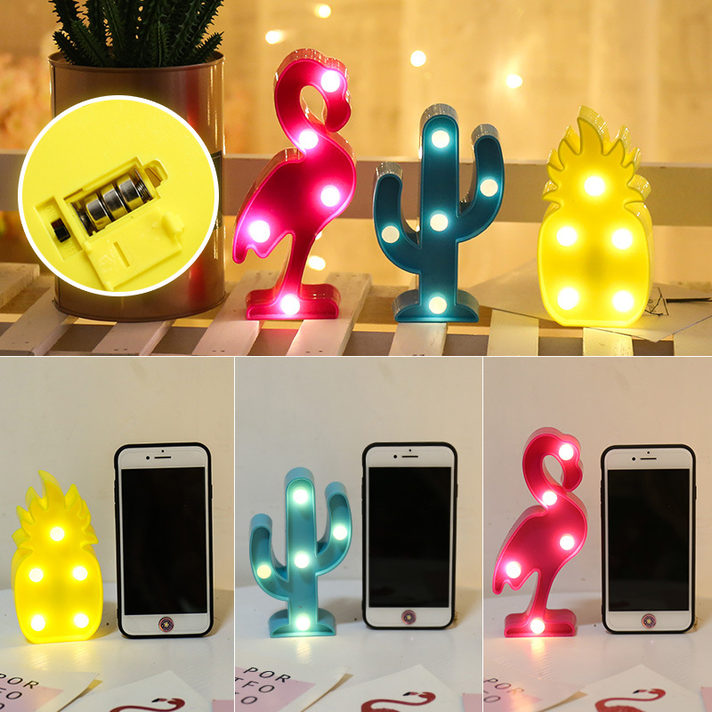 1Pcs LED Mini Night Lights Flamingo Pineapple Cactus 3D Lights Festival Bedroom Party Decor Kids Baby Birthday Christmas Gift (10)