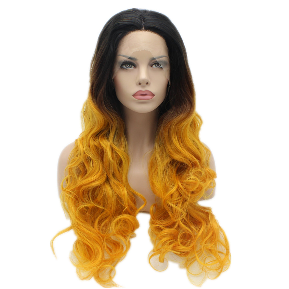 Black Root To Orange Yellow Ombre Color Wavy Synthetic Lace Front Wigs Stylish Heavy Density Heat Resistant Kanekalon Lady Wigs k19 16inch wavy orange gradient light blonde ombre color synthetic lace front wigs heat resistant heavy density kanekalon wigs