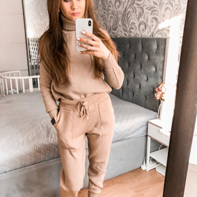 GIGOGOU Women Casual Harem Pants Loose Trousers For Women Knitted Pants Autumn Winter Solid Color Sweater