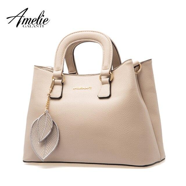 AMELIE GALANTI для женщин седельные сумки лист украшают простые Стильные сумки жесткий из искусственной кожи сумки через плечо для