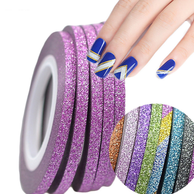 1 Roll 3mm Nail Art Glitter Striping Tape Color Line Tips Strips For Polish Diy