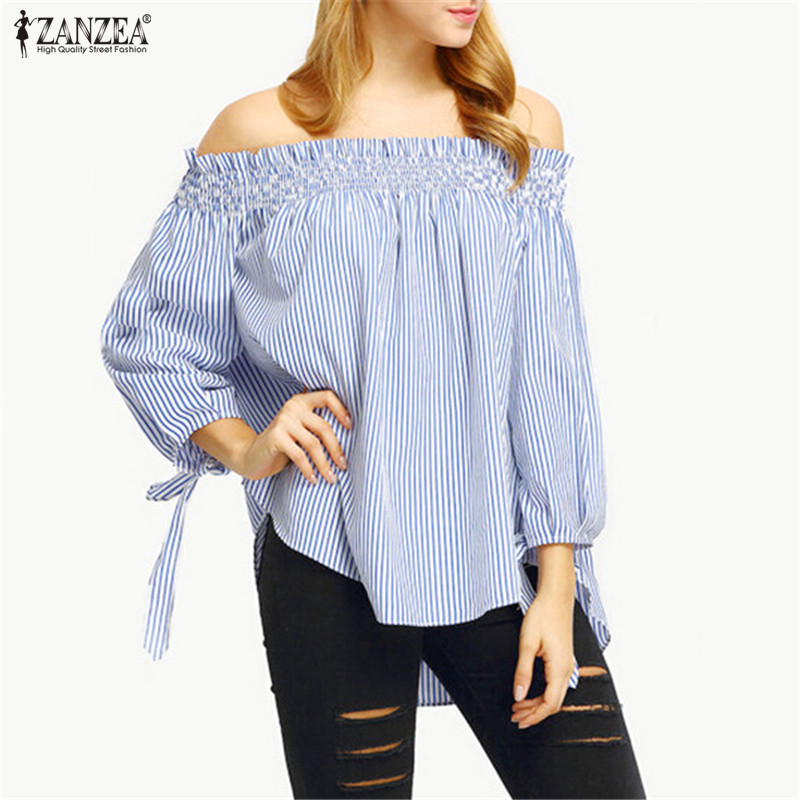 ZANZEA Womens Summer Blouses 2020 Spring Sexy Off Shoulder TopsSlash Neck Striped Bow Casual Blusa Plus Size Party Shirt Vestido