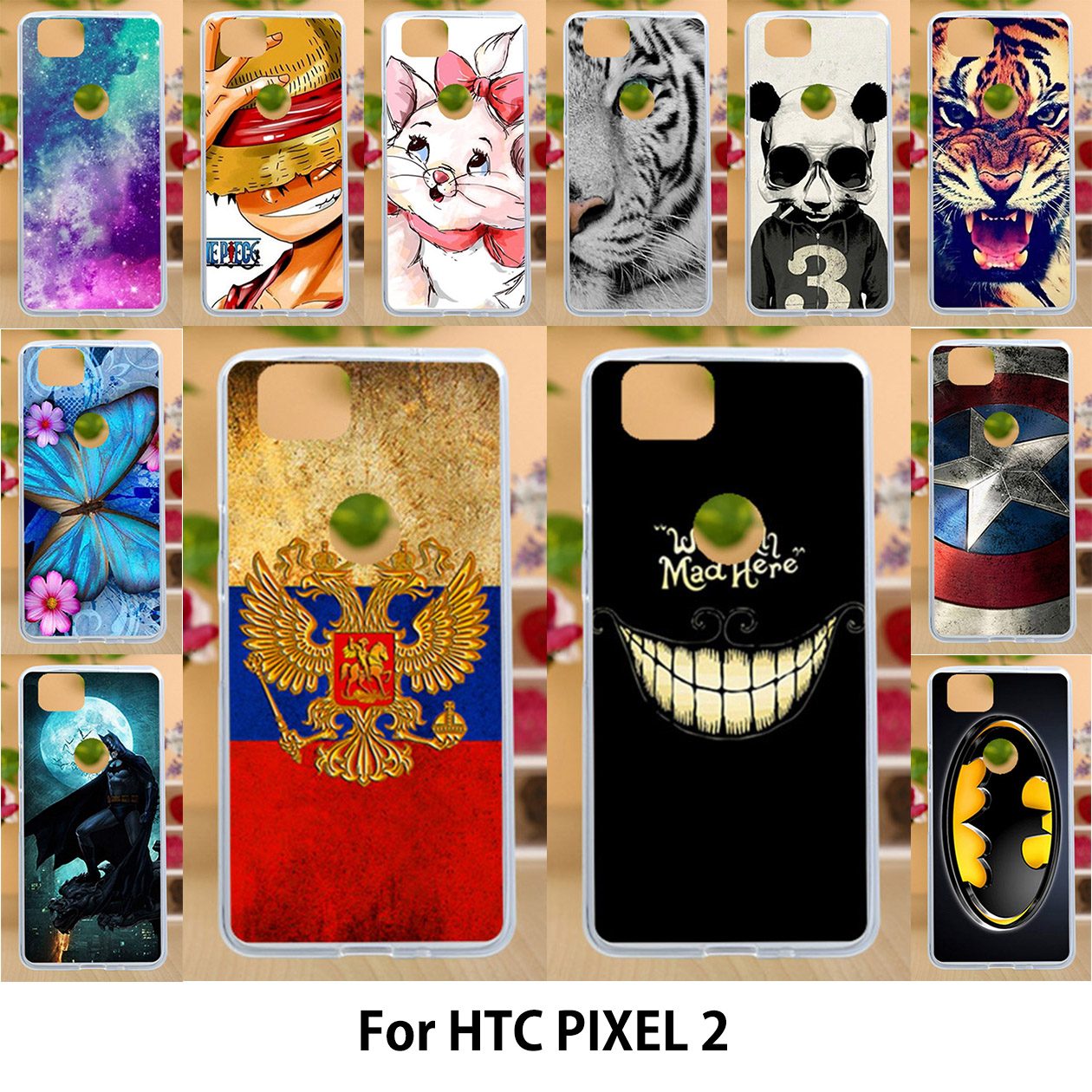 Case For HTC Pixel2 Google Pixel 2 5.0 Inch Cases Silicone TPU Soft Back Cover Painted Flags Smile Face Animals Housing
