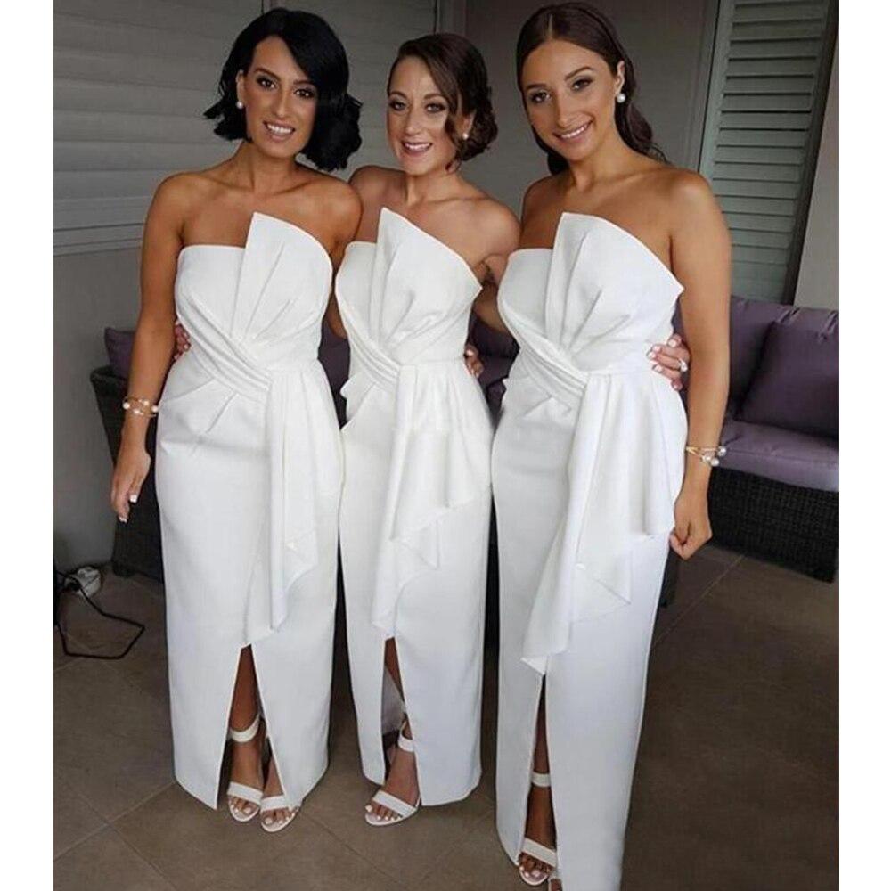 2019 New White Bridesmaid Dresses Strapless Straight Floor Length Front Split Satin Long Wedding Guest Dress