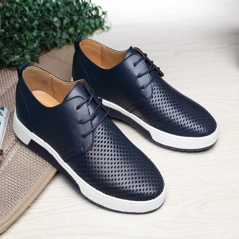 2019 erkekler rahat ayakkabılar moda deri ayakkabı erkekler yaz Flats nefes delik ayakkabı platformu rahat düz ayakkabı erkekler için
