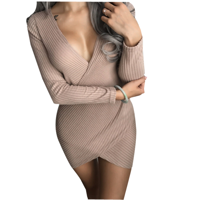 cb04ddbdbb608 2017 Winter Women Bodycon Sweater Under Dresses Sex Package Hips V-Neck  Slim Knitting Long sleeve Pencil Mini Party Dress