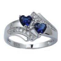 Authentische 925 Sterling Silber Versprechen Ring für Frauen Doppel-herz 5mm Dunkelblau Steine Schmuck R014 Multi-größe beste Geschenk R014