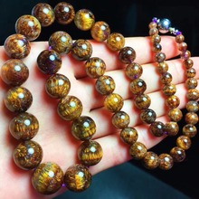 Top Quality Natural Cacoxenite Gold Rutilated Gemstone Necklace 4-13.3MM Women Lady Best Crystal Round Beads Certificate AAAAA