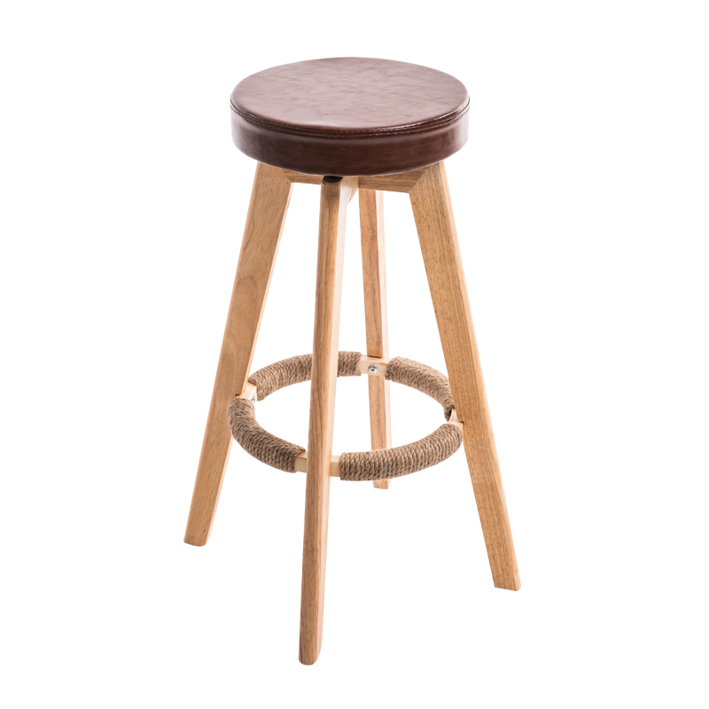 Wooden Simple Style Bar Chair Rotated Multi-function Household High Stool Front Desk PU Seat Balcony Stable Leisure Bar Stool