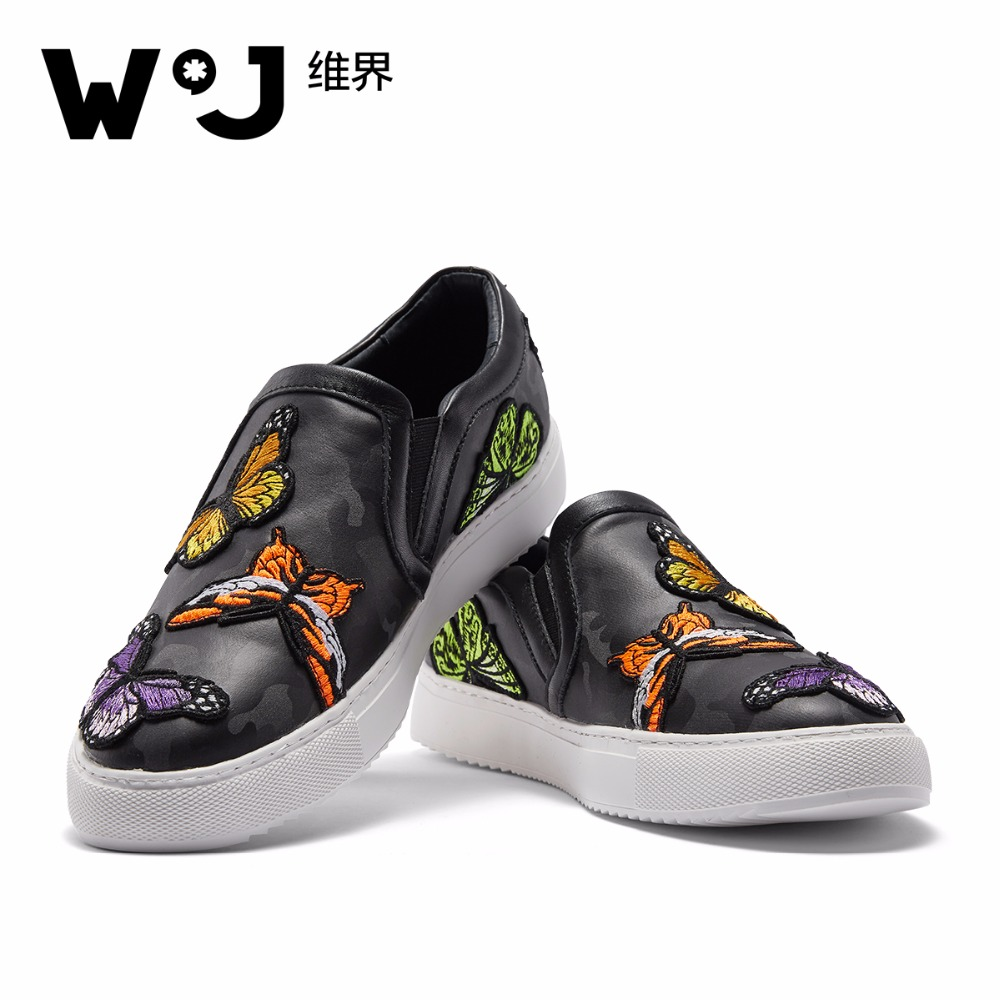 W.J Spring Summer Fall Nylon Colorful Butterfly Embroidery Animal Prints Black Casual Loafers for men