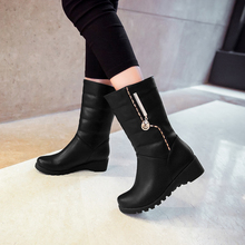 Size 34-40 2016 New Fashion women boots pu leather shoes motorcycle boots solid black brown women's winter Snow Boots