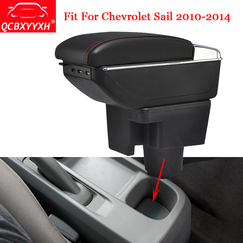 QCBXYYXH ABS Car Armrest Box Center Console Storage Box Holder Case Auto Accessories For Chevrolet Sail 2010-2014 Car-Styling black interior storage box armrest center console for honda fit jazz 2014 2015