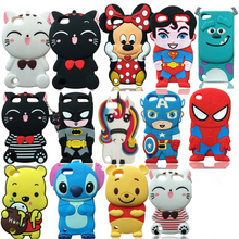 3D Cartoon Cute Sulley Stitch Unicorn Batman Ice Cream Soft Silicone Back Cover For iPod Touch 5 / Touch 6 Phone Cases Fundas antiskid tread protective silicone soft back case for ipod touch 5 deep pink