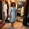 2016 do Vintage chá de comprimento Satin frisada New projetado mãe da noiva vestidos de ternos com revestimento vestido de noite Formal