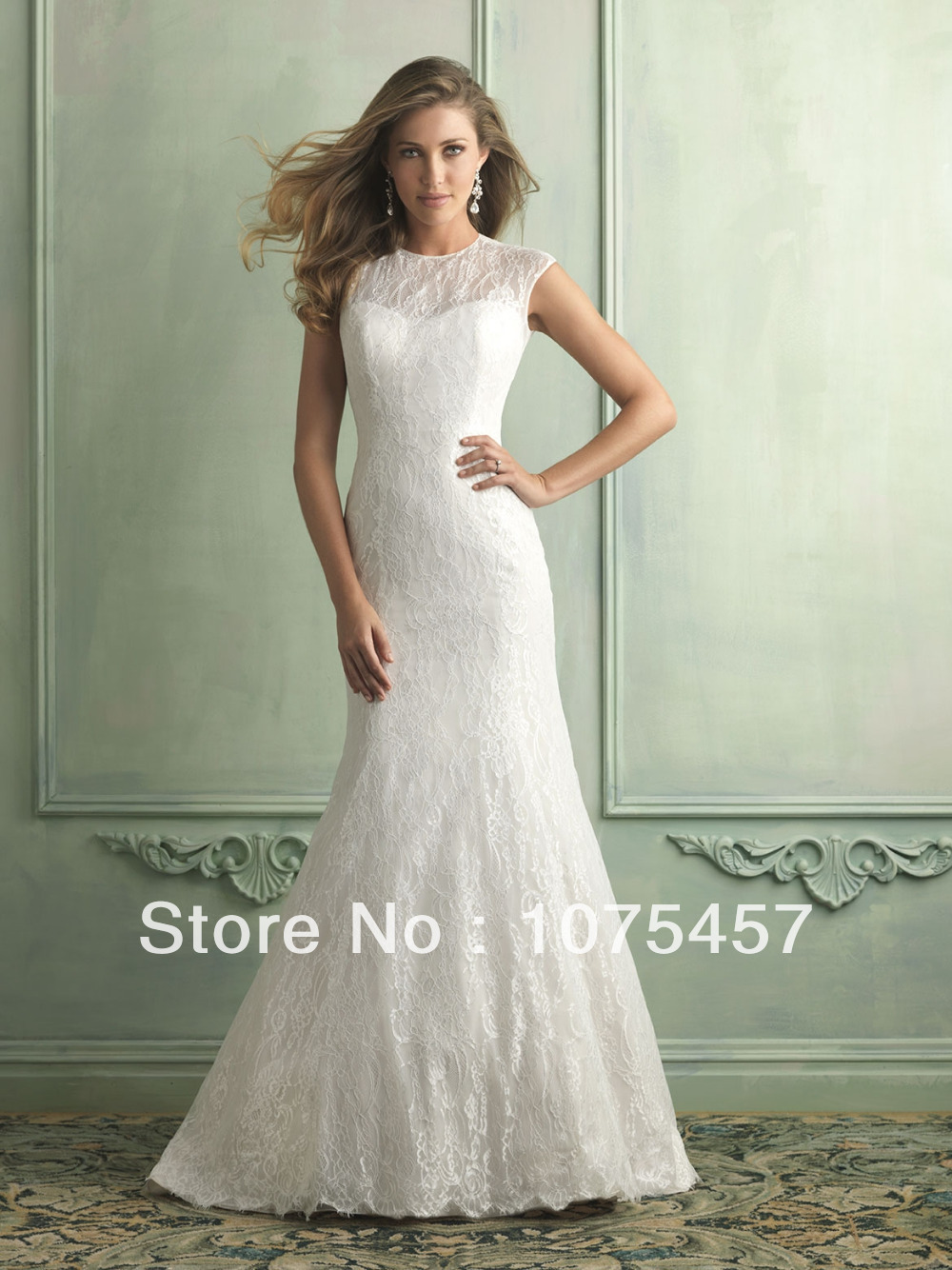 2014 simple white lace wedding dresses high collar pleat for Lace cap sleeve keyhole back wedding dress