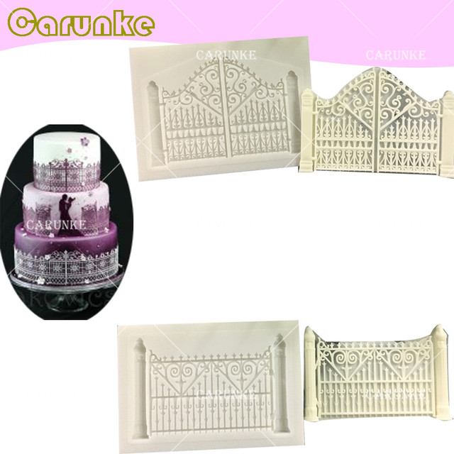 Carunke Door flower retro fence silicone mould fondant mold Cake Decorating Mold birthday cake moulds chocolate  sc 1 st  AliExpress.com & Carunke Door flower retro fence silicone mould fondant mold Cake ...