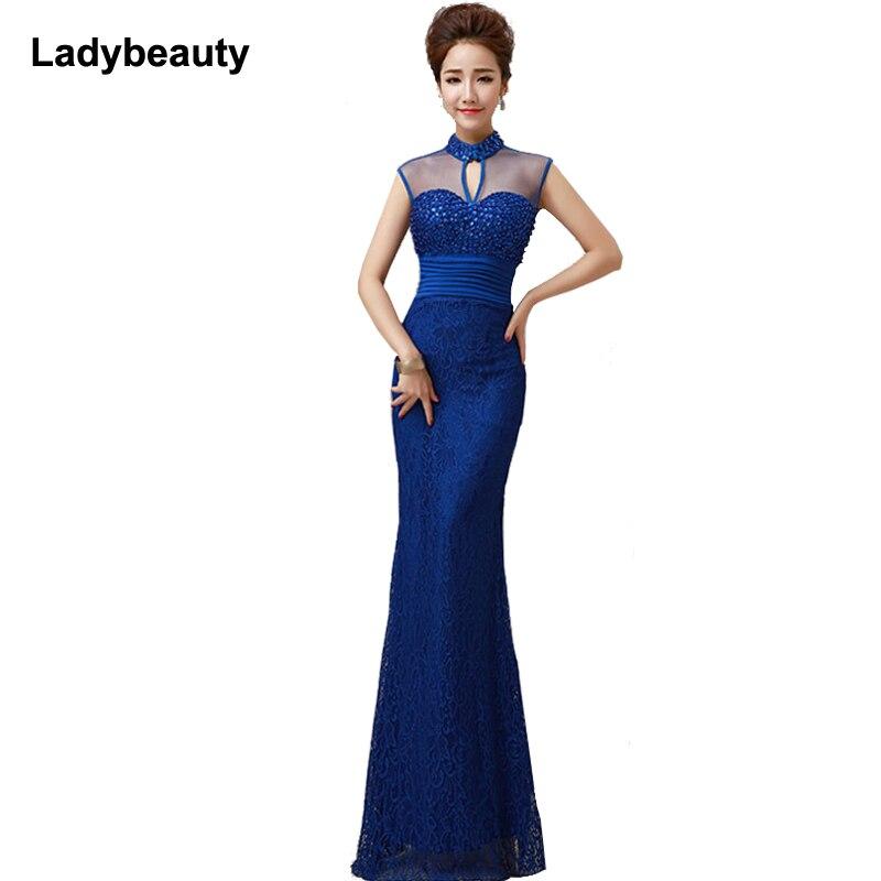 2018 Elegant See Through Red elegant long   evening     dress   mermaid with sequined beaded women eveing gown vestidos de festa longo