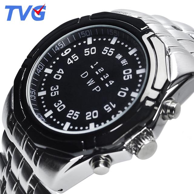 2016 la venta caliente marca tvg hombres reloj de la aleación carcasa de aleación de correa de pulsera a prueba de agua reloj de la exhibición de led de luz única