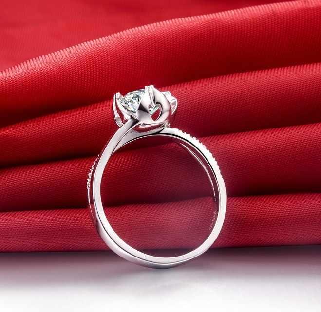0.5 Carat fleur Style Micro pavé Semi mont SONA fleur de fiançailles 925 bague en diamant pour les femmes en argent Sterling bande 925 bijoux