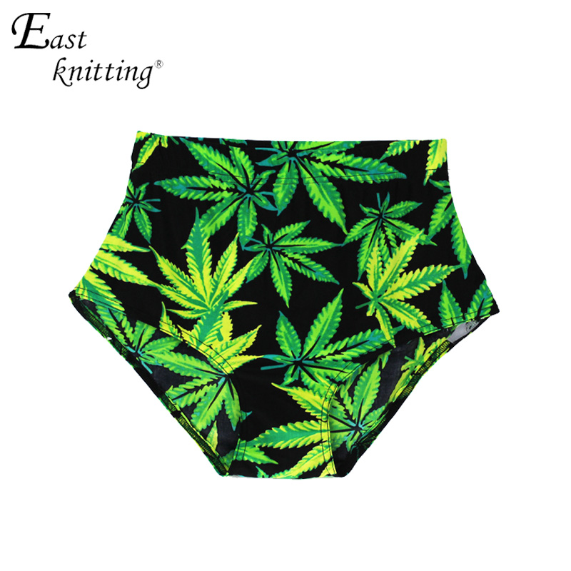 X-005 Ladies Green Maple Leaf Digital Print Shorts de cintura alta