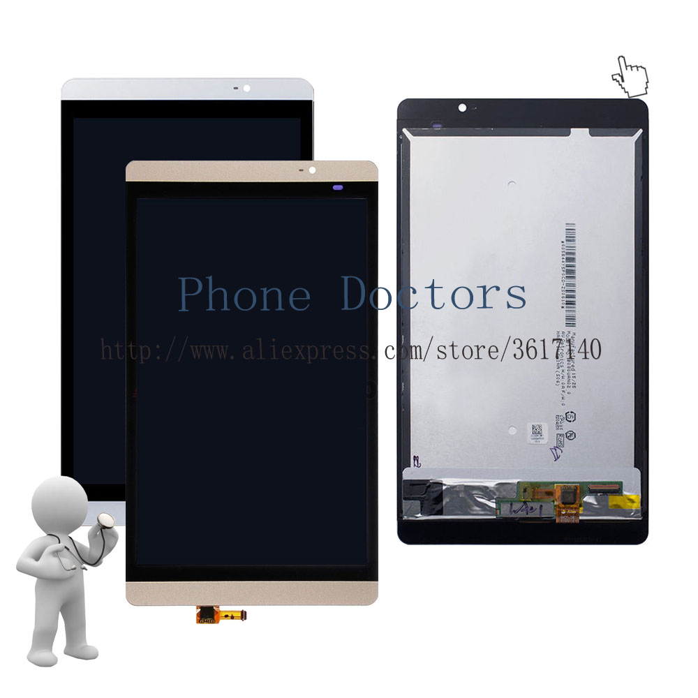 New Touch Screen Digitizer Glass + LCD Display Assembly For Huawei Mediapad M2 8.0 M2-801 M2-801L M2-802L M2-803L ; Gold / White replacement lcd digitizer capacitive touch screen for lg d800 d 801 d803 f320 white