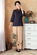 Chinese Traditional Tops  Women Cotton Linen Blouse Summer T-Shirt Size: S to 3XL