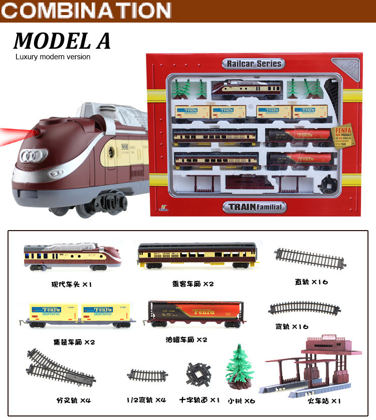 Free shipping!Long Steam Train 9.4 Meters Train Track electric toy trains for kids Truck for boys Railway Railroad birthday gift - 4