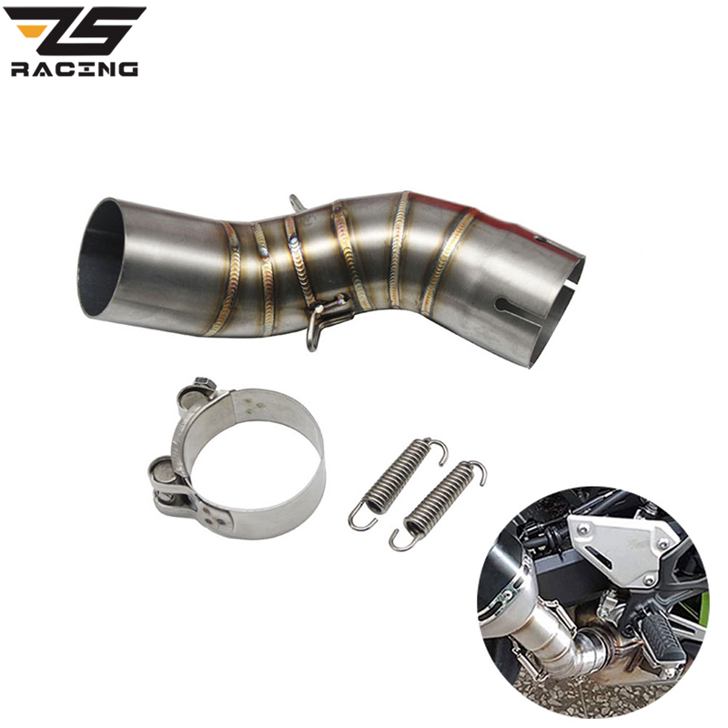 ZS Racing <font><b>Motorcycle</b></font> <font><b>Exhaust</b></font> Escape Modified Middle Pipe Connection Link Pipe 51mm <font><b>SC</b></font> Muffler Slip On For Kawasaki Z900 image