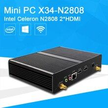 Mini PC De Bureau Intel Celeron N2808 Double-noyaux Bureau Ordinateur HTPC 2 * HDMI 6 * USB HD Graphique zéro Bruit Windows 10