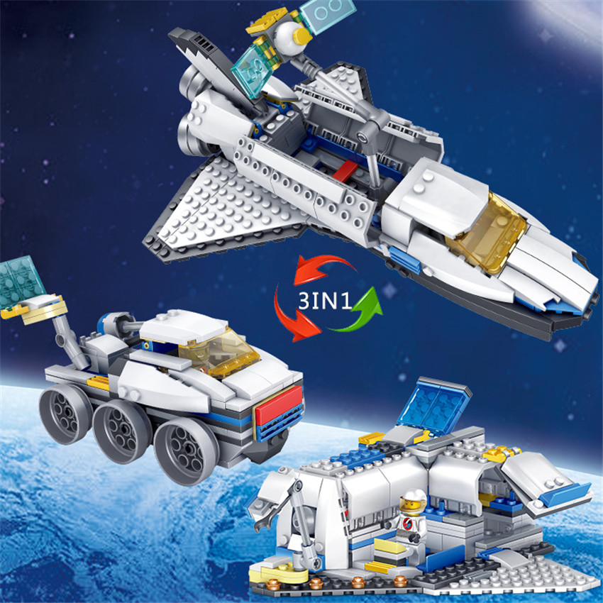 KAZI New 3 in 1 City Series Caravan Camping Car Space shuttle Legoingly Blocks Toys DIY Building Bricks Gifts for Children (3)