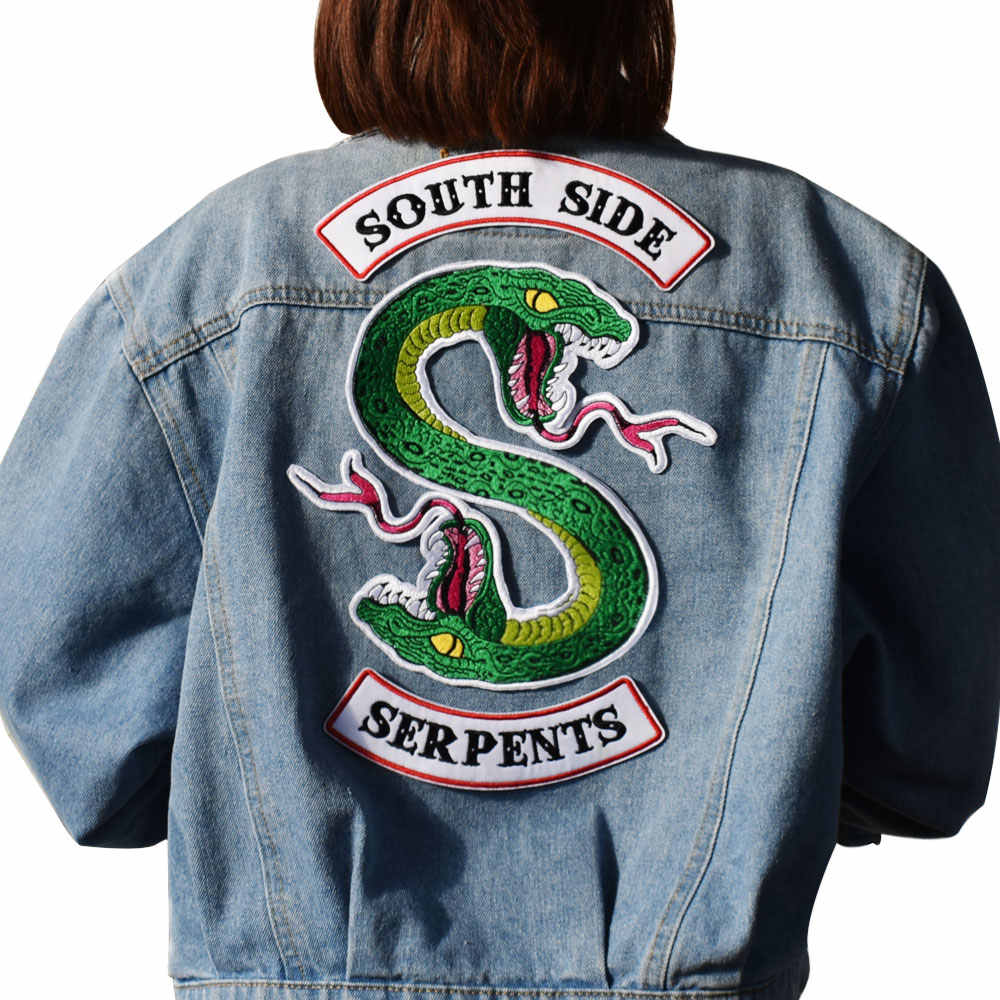 Green Snake Biker Patch Sewing On Embroidered Patches for Jacket  Vest DIY Apparel Accessories  Applique embroidery patch badge