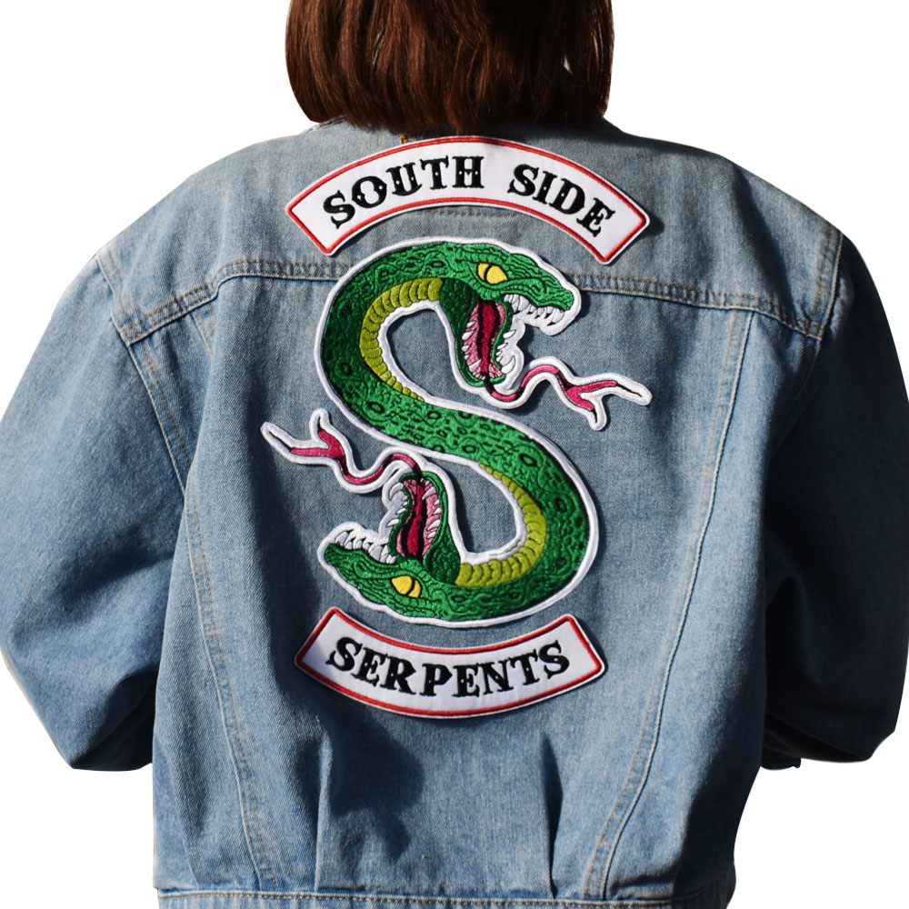 Cute Green Snake Patch Sewing On Embroidered Patch for Jacket Clothes Vest DIY Apparel Accessories Sewing Applique