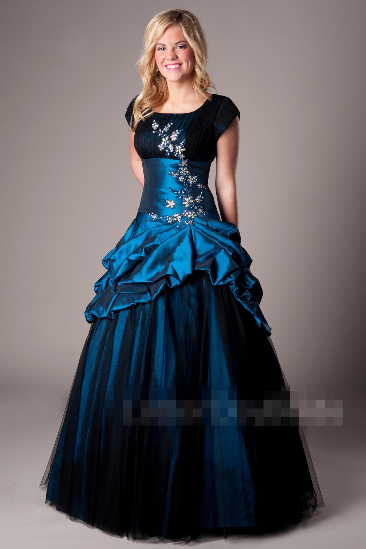 2019 Royal bleu noir modeste robes de bal avec Cap manches courtes Vintage taffetas personnes âgées robe de bal robes de bal - 5