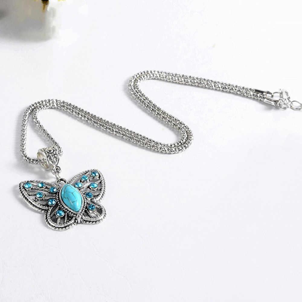 1PC 女性のためのボヘミアンファッションチェーンジュエリーアクセサリーレトロ美しい蝶中空クリスタルインレイペンダントネックレス
