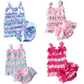 2017new Baby Girl Lace Clothing Sets Ruffles Layered Vest+Briefs Panties 2pcs Suits Summer Bebe Toddler Clothes Set Outfits