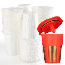 100 Disposable Paper Coffee Filters 24K Gold Reusable K-Carafe Filter For Reusable K-cup Filter For Keurig 2.0 & 1.0 Brewers