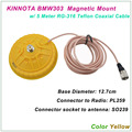 New Arrival KINNUOTA BMW303 Color Yellow MAGNETIC MOUNT SO239 with 5 Meter TEFLON RG-316 Coaxial Cable PL259