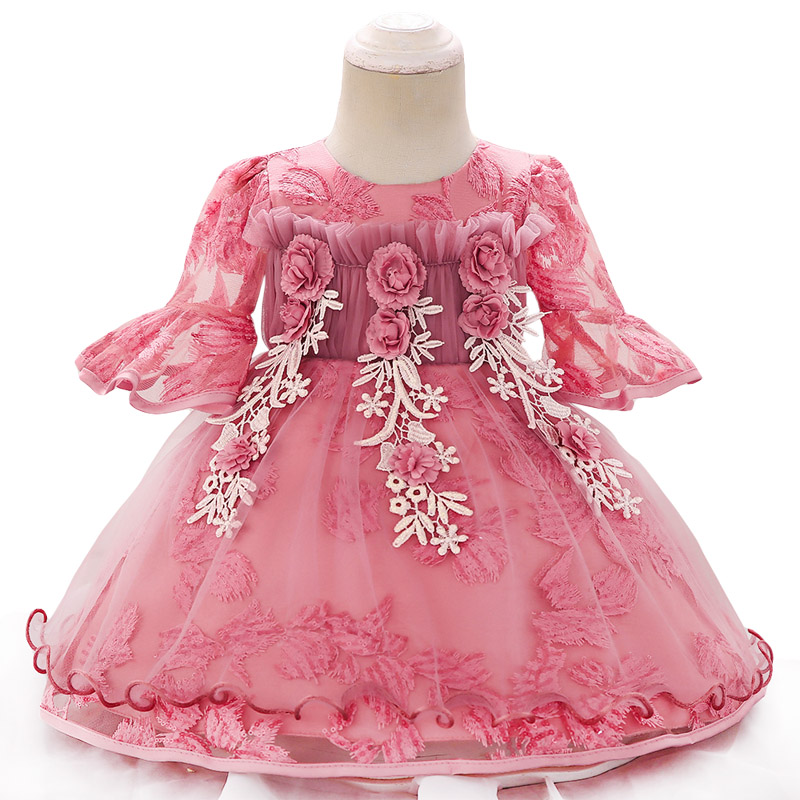 Baby Dresses 2019 Summer Baby Girls Long Sleeve Lace Princess Dress For Baby Girls Infant Party Dresses 1 Year Birthday Dress