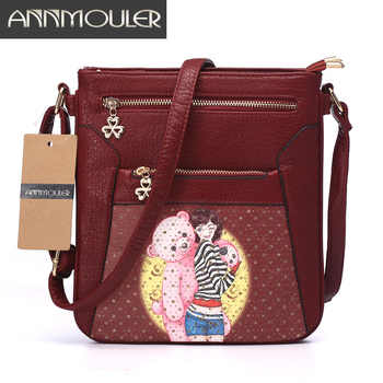 Women Messenger Bags Pu Leather Flap Bag Cartoon Printing Shoulder Crossbody Bag Double Zipper Bag