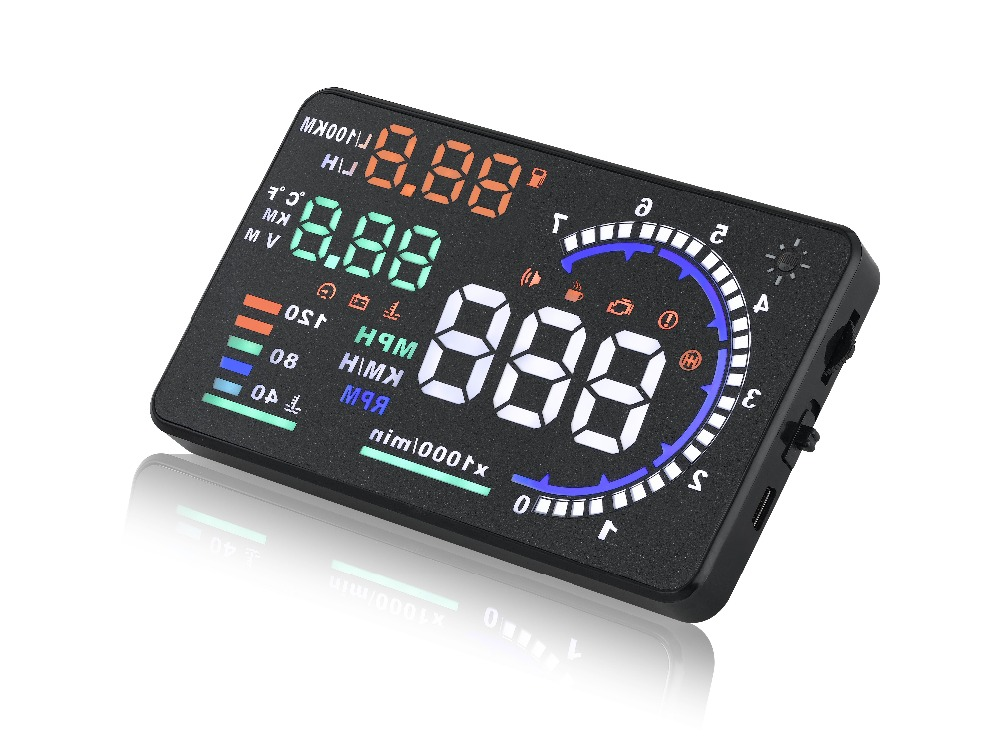 A8 Universal 5.5 inch Car HUD Head Up Display OBD II 2 Speed Warning System Fuel Consumpt Styling Free Shipping