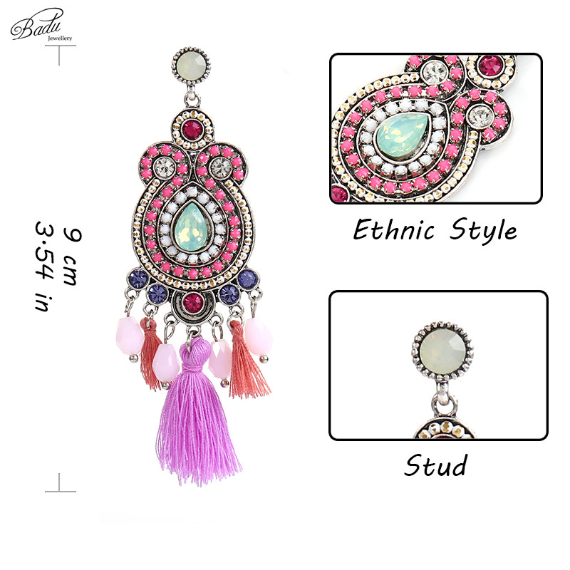 Badu Long Ethnic Earring Women Halloween Party Purple Tassels Vintage Baroque Big Heavy Pendant Drop Earrings Fashion Jewelry in Drop Earrings from Jewelry Accessories